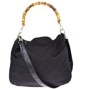 GUCCI Bamboo 2Way Shoulder Hand Bag Nylon Leather Black Silver Italy 05JE206